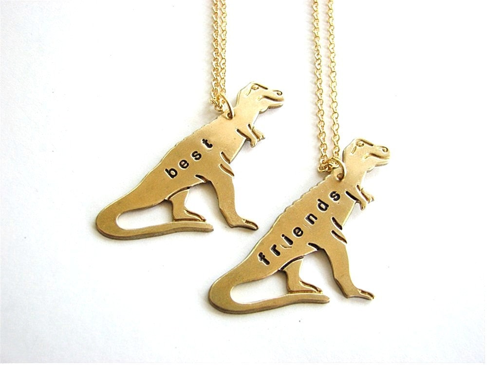 Best friends t rex necklace set tyrranosaurus personalized zoom aloadofball Image collections