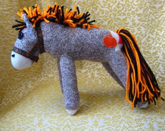 Sock Monkey Pony Horse Autumn Colors - Pumpkin Tattoo - Stuffed Animal Toy Plush Doll Rockford Red heel Socks