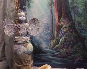 Assemblage Angel, Shell Collector, Altered Mason Jar, Bless this home, Bridal Shower Gift, Jar art doll, Collectible keepsake