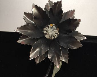 Flower Brooch, Crystal Floral Brooch, Floral Brooch