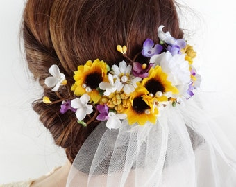 sunflower hair clip, bridal hair clip, sunflower wedding hair piece, bridal hair piece, bridal headpiece, yellow and purple hair flowers