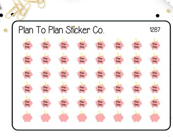 1287~~Payday Piggy Bank Planner Stickers.