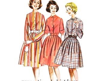 1960s Shirtdress Pattern Butterick 2322 Height Proportioned Full Skirt Dress Womens Sewing Pattern Size 12 Vintage