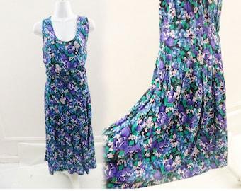 Vintage 80s Dress Size M L Teal Purple Floral Rayon Boho Sleeveless Drop Waist