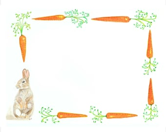 flat note cards:  children's notes - rabbit & carrots