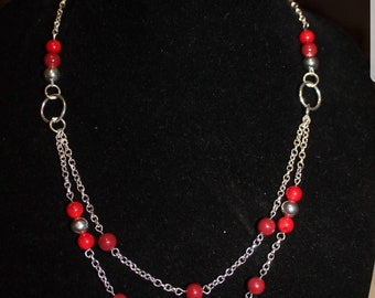 Red Beaded Double Strand Necklace