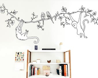 Large Black and White Branch with Monkeys and Parakeets, Fabric Sticker (not vinyl), Liana Wall Decal, Removable, Tropical Sticker, Jungle
