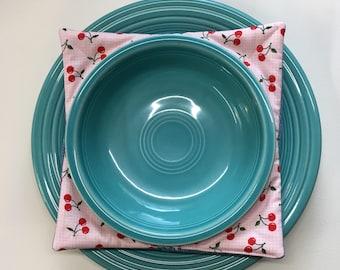 Denim Plus Cherry Print Bowl Cozy Set of 2