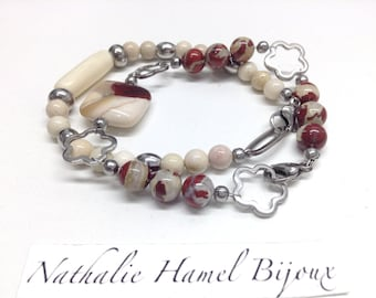 Bracelet made of brecciated Jasper, mookaite and stainless steel mounted on a wire beads and clasp stainless steel.