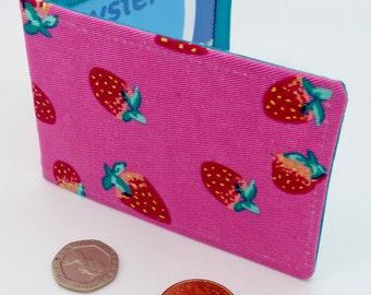 Oyster card holder, bus pass holder, travel card holder, wallet. Pink strawberry print wallet . Oyster card wallet, credit card holder
