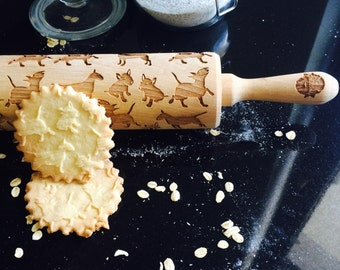 BULL TERRIER rolling pin, embossing rolling pin, engraved rolling pin by laser, dog rolling pin