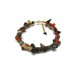 Linen and natural agate bracelet / Gypsy style bracelet / Boho bracelet / Earthy colors bracelet / Tribal bracelet / Unique bracelet /