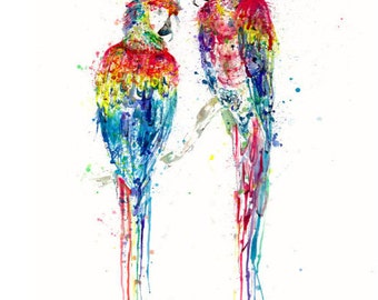 Mates for Life: Scarlet Macaw Watercolor