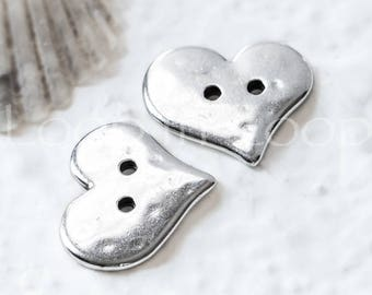 25%OFF Hammered Heart button Two Hole Buttons European charm Antique Silver Quality hypoallergenic Greek Metal knitting TH183, 2pcs