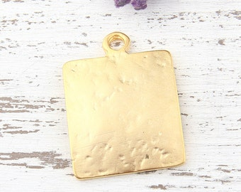 Textured Square Pendant, Square Charm, Gold Square Pendant, Geometric Pendant, Square Drop Pendant, 23mm, 1 piece // GP-467