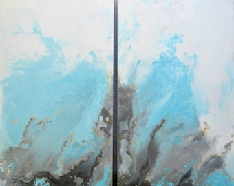 """Blue Grey Resin Painting Acrylic on Wood Panel Diptych Sunshower at Sea 36""""x40"""""""