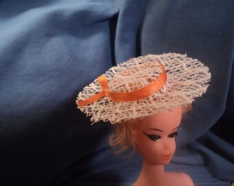Vintage Barbie Doll Accessory Clone Straw Hat Orange Ribbon