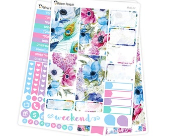 Blue Floral mini kit Planner Stickers for Erin Condren Life Planner // #MK-12