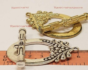 1 Set - Extra Large Toggle Clasp -  57x39mm Antique Gold or Silver  Lead free Pewter. SLR0429.