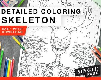 Printable Coloring Page for Grownups - Skeleton Single
