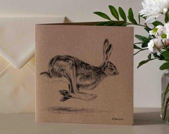 Galloping Hare British Nature Greetings Card - Blank Inside