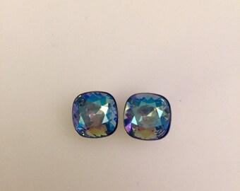Square Swarovski light blue mix earrings