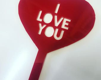Acrylic Valentines I Love You Cake Topper