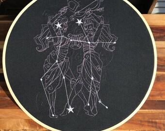 Gemini Constellation Embroidery Hoop Art