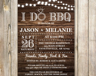 I Do BBQ Invitation, Couples Shower Invitation, Bridal Shower, Wedding Shower, Shower, Invitation, Rustic, Wood, Country, Printable, 5x7
