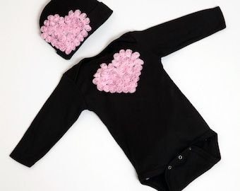 Infant Black One Piece Set  Long Sleeve Baby Girl Set with Chiffon Heart