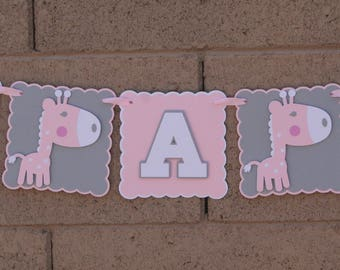 Giraffe baby shower banner. it's A Girl. Baby Girl White, Gray and Pink. Baby Shower.