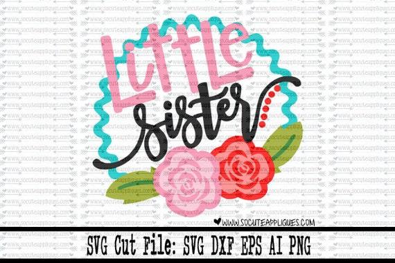 New Baby Svg Little Sister Flower Frame Svg New Baby