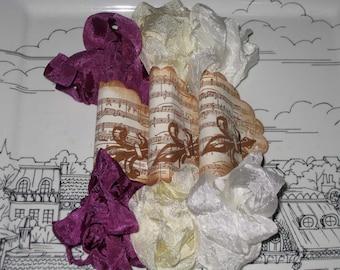 Hand Crinkled Seam Binding Packaged French Raspberry & Creme ESC