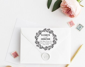 Return Address Stamp, Address Stamp, Custom Address Stamp, Laurel Wreath Wedding Stamp, Personalized Return Address Stamp, Rubber Stamp107