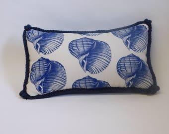 Dark Blue Shell Pattern Rectangle Pillow with Mini-Plaid on Back and Dark Blue Rope Trim