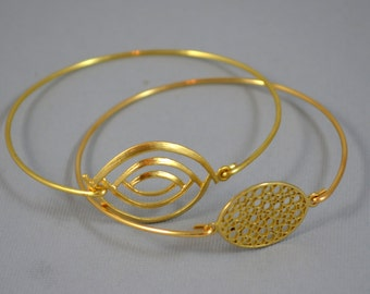 Eval Eye  Stackable Bangles, Geometric Bracelet, Bracelet, Bridesmaids Gifts, Wedding Jewelry.