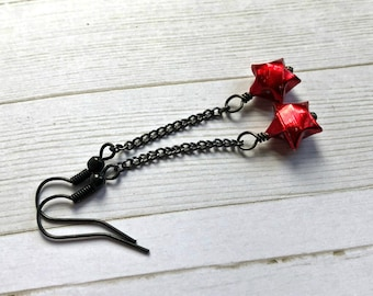 Red Origami Lucky Star Black Chain Earrings