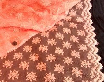 Vintage Coral Lace Fabric