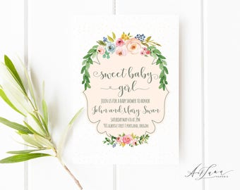 Baby Shower Invitation Girl, Baby Shower, Girl Baby Shower Invitation, Floral Baby Shower Invitation, Sweet Baby Girl Invitation 014