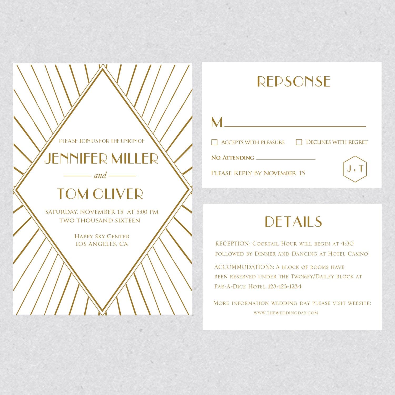 Druckbare Gatsby Gold Hochzeit Einladung Vorlage Set Karte