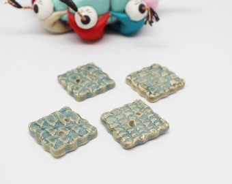 Four, Teal, Square, Crocheted Lace textured, Stoneware Buttons