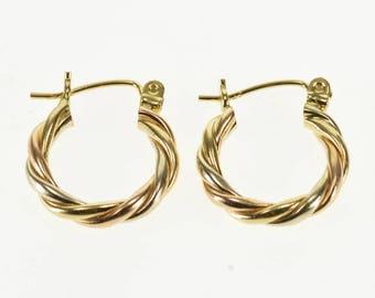 14k Tri Tone Twist Spiral Hollow Hoop Earrings Gold