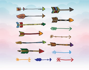 Colorful arrows Svg, hand drawn style SVG - Arrows in svg dxf eps pdf ai png for cricut space and silhouette cameo cutting