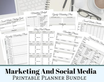 Marketing And Social Media Planner, Social Media Printable Management Forms, Marketing Budget, Small Business Marketing Planner