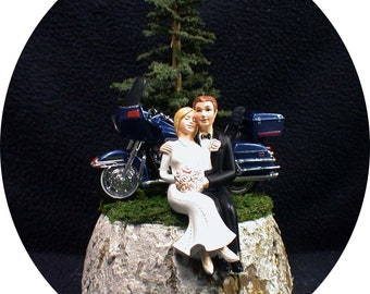 Wedding Cake Topper w/ Harley Davidson Motorcycle Off road Mountain Travel Country western Bride and Groom Top U pick bike Color Blue Black