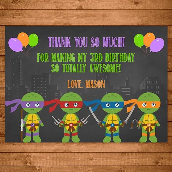 Teenage Mutant Ninja Turtles Thank You Card Chalkboard