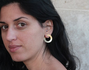 Twist Earrings, Gold Earrings, Stud Earrings, Spiral Earrings, Round Studs, Open Circle Earrings, Rotated Earrings, Unique Gift for Her
