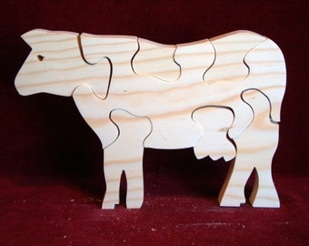 Dairy Cow Puzzle,  Unfinished Pine