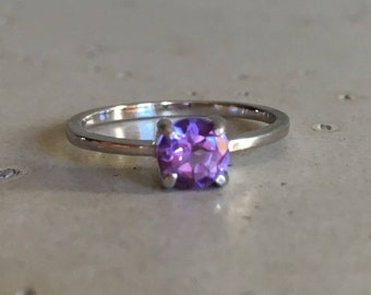 Tiny Amethyst Stackable Ring- Purple Amethyst Ring- 4 Prong Silver Ring- Purple Gemstone Ring- February Birthstone Ring- Knuckle Pinky Ring