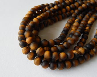 8mm Matte Tiger's Eye Beads